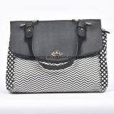 2016 Black and White Stripe PU Handle Bag