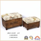 Upholstery Fabric Rectangular Storage Ottoman Wooden Trunk