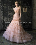 Mermaid Bridal Gowns Pink Organza Color Accent Wedding Dress Lb173