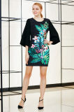 Placement Floral Print Shift Dress with Solid Bell Sleeve