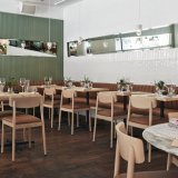 Modern Wooden Restaurant Furniture Sets for Table and Stackable Chairs