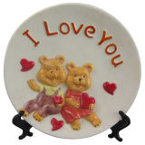 Home Decoration Ceramic Craft Plate with Bear Design