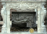 Pink Marble Statued Carved Fireplace (MSDF-009)