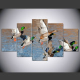 Canvas Painting Home Decor for Living Room Art Prints on Canvas Wall Picture 5 Panel Animal Duck Hunting Landscape HD Print