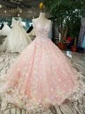 Ball Gown Nude Pink Boat Neck Ball Evening Dress