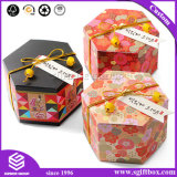 Custom Patchwork Pattern Gift Box with Lid Hexagon Paper Hamper Packaging Box