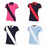 Ladies Stripe Slim Fit Cotton Pique Polo Shirt (A458)
