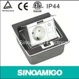 Stainless Steel Pop up Type IP 44 Waterproof Floor Outlet Box with 10A Universal Sockets