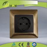 TUV Certified Golden Metal Schuko Socket Switch