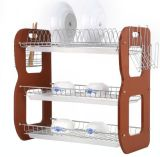 Three Layer B Shape Metal Wire Kitchen Wooden Dish Rack (JP-DR22318)