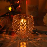 Embossed Flower Patterned Glass Candle Holders
