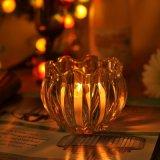 Pumpkin High Clear Glass Candle Holders