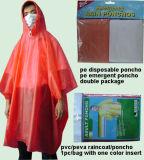 Cheap Disposable PE Raincoat Clear Plastic Rain Poncho (LY-PR-002)