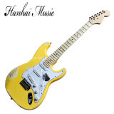 Hanhai Music / Old Style Yellow Electric Guitar with Scalloped Neck