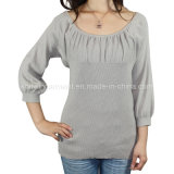 Women Fashion Knitted Round Neck Long Sleeve Sweater Clothes (11SS-069)