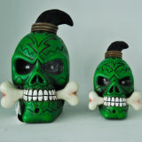 Halloween Custom-Made High Quality LED Polyresin Green Skull