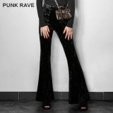 Pk-104 Fancy Design Gothic Hallowmas Flower Velvet Women Flared Trousers