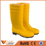 Yellow PVC Wellington Boots with Steel Toe Safety Rain Boots