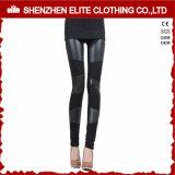 Fashion Women Sheer Patch Black Leather Leggings (ELTFLI-15)
