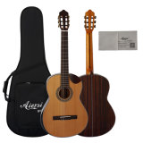 Hot Sale Solid Top Classical Guitar with Bowl Cutway