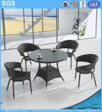 Outdoor Furniture Wicker Chairs and Round Rattan Table Dining Set