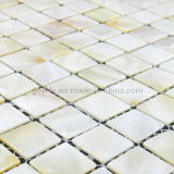 Freshwater on Mesh, Natural White Shell Mosaic with Little Yellow and Pink Color (WFM-NC-SQ20)