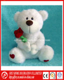 Plush White Teddy Bear Toy with Flower for Baby Gift