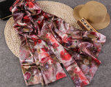 Flower Color Printed Silk Lady Pashmina Viscose Scarf