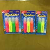 4 Colors Highlighter Pen with Card Packing, Fluorescent Pen