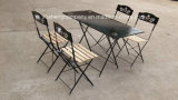Metal Wooden Dining Table and Chairs with Printing