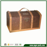 Special Treatment of Retro Paint Wooden Storage Case with Leather