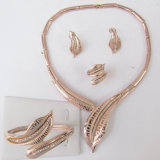 Leaf Shape Rose Golden Jewelry Set Within Necklace Bangle Earring Ring (M1A06093NEBR7XW)