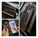 High Quality Luxury Leather Flip Mobile Cover for Samsung Galaxy S6/S7 Edge Phone Case