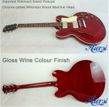 Wine Colour 335 Semi Hollow Archtop Body Electric Jazz Guitar