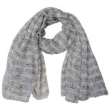 Lady Fashion Polyester Voile Musical Note Printed Scarf (YKY4216)