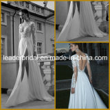 Sheer Lace Long Sleeves V-Neckline Side Slit Beach Bridal Wedding Dress W1414