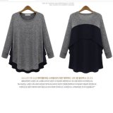 Lady New Style Long Sleeve Contrast Color Sweater Shirt