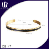 Plastic Inlay 18CT IP Gold Plated Open Cuff Bracelet
