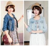 2016 Korean Version Women Denim Jacket with Round Neck