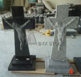 Granite Carved Jesus Cross Headstone / Tombstone for Europe