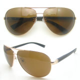 Gold Aviators Metal Frame Polarized Sunglasses with PC Temples
