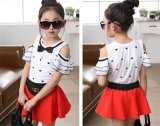 Sweet Girls′ Strapless Bow Tie Short Two-Piece Dress