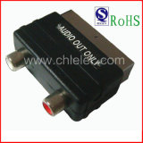Nickel-Plated Connector Mini Scart Plug to 2RCA Jack Audio out Only Scart Adapter (SH3014-1)