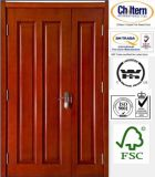 Exterior /Interior Door Wooden Door Double Sashed Door Designs with Nature Veneer Safety Door