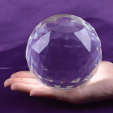 Transparent Crystal Glass Ball with Facets, Faceted Crystal Ball