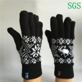Double Layer Winter Warm Fashion Cheap Jacquard Knitted Five Finger Gloves