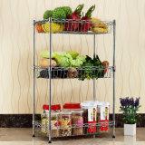 Adjustable Chrome Metal Kitchen Basket Rack for Fruit/Vegetable