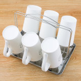 Metal Kitchen Table Stand Glass Cup Holder with Plastic Tray