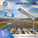 20W Rechargeable Solar LED Street Light with Solar Panel