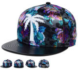 Flat Coconut Tree Embroidery Snapback Cap with Sublimation Print Design